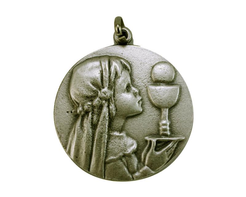 Medallón comunión mujer 4,3cm  fundicion