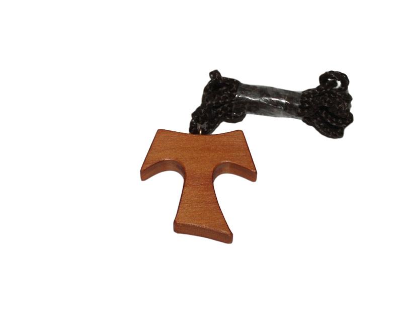 Cruz Tau madera semi clara c/cordón - 2cm