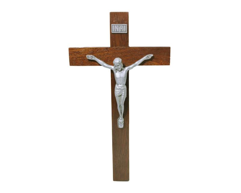 Crucifijo de pared - madera c/ Cristo plateado. 30cm - N°6