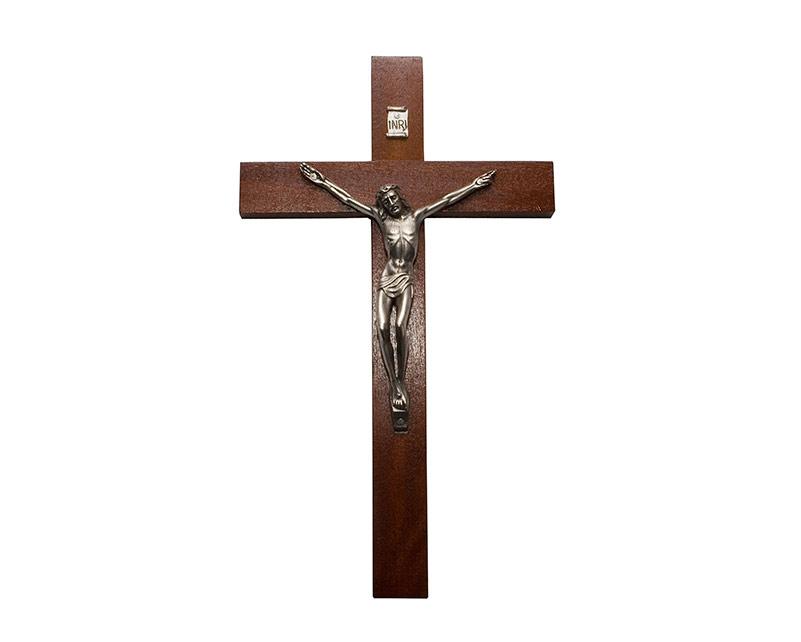 Crucifijo de pared - madera c/ Cristo plateado. 24cm - N°4