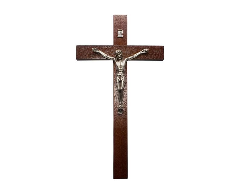 Crucifijo de pared - madera c/ Cristo plateado. 21cm - N°3