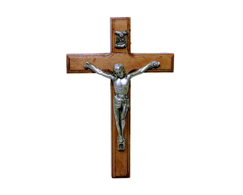 Crucifijo de pared - madera c/ Cristo plateado. 10cm