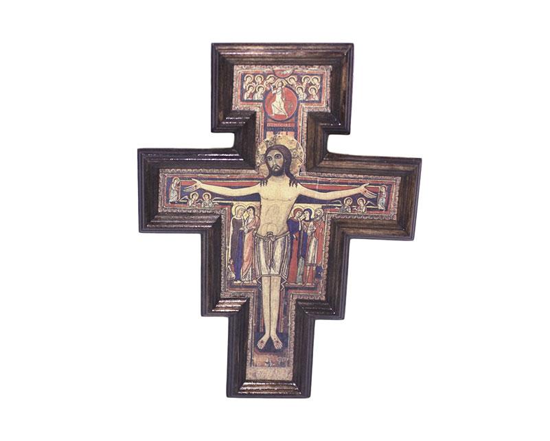Crucifijo de pared - madera San Damián c/marco. 16x11cm
