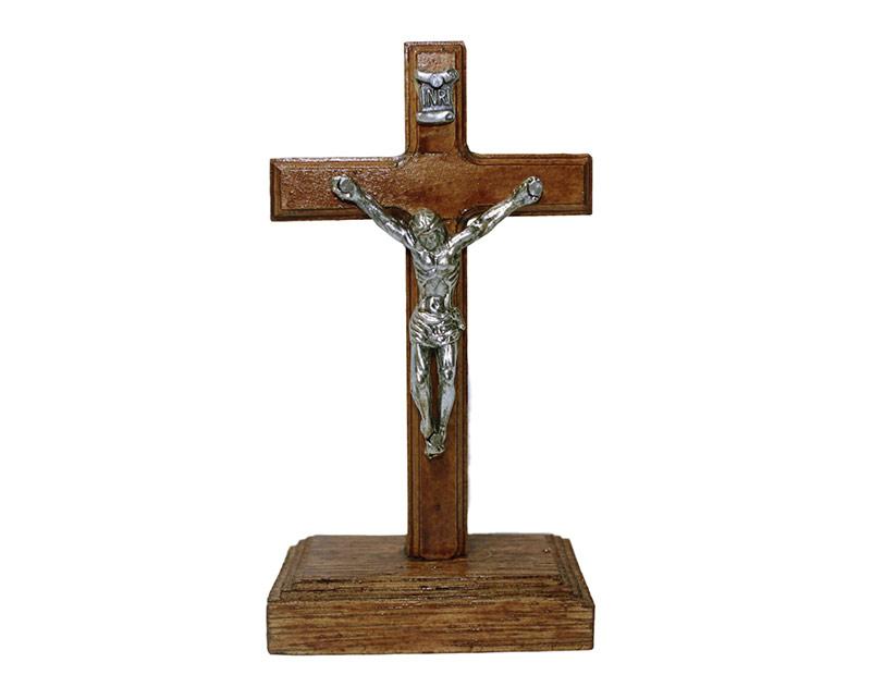 Crucifijo de pared - madera c/Cristo y base. 11cm