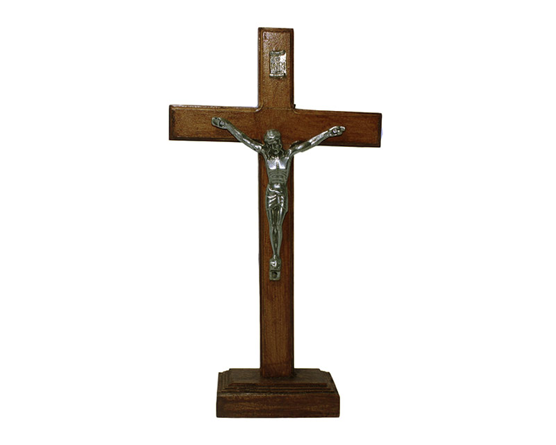 Crucifijo de pared - madera c/Cristo y base. 21cm