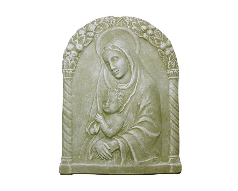 Estatua Virgen c/marco cemento p/ exterior 22x30cm