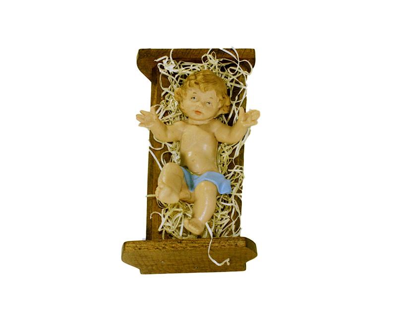 Estatua Niño c/cuna 30cm p/pesebre