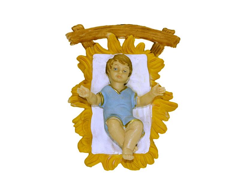 Estatua Niño c/cuna 20cm p/pesebre