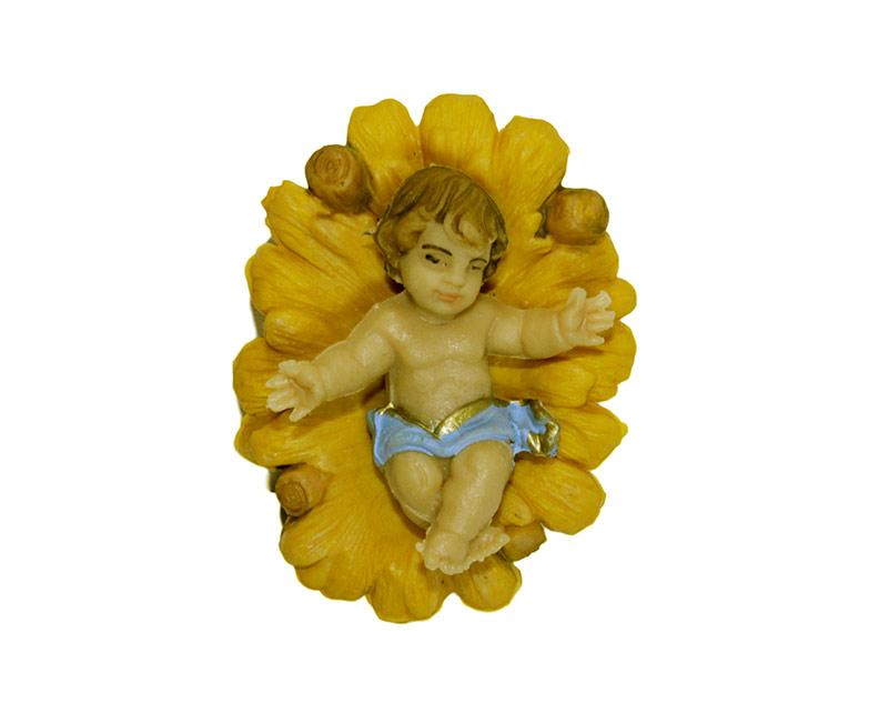 Estatua Niño c/cuna 14cm  p/pesebre